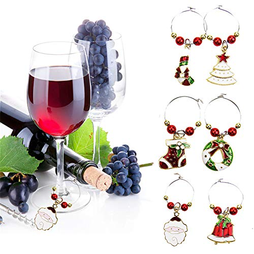 Wine Rings, Elevin(TM) 6PCS Wine Glass Charms Rings Marker Christmas Party Bar Table Decorations from Elevin(TM) _ Home Decor & Kitchen