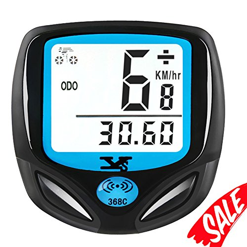 007KK Bike Speedometer Waterproof Wireless Bicycle Bike Computer and Odometer with Automatic Wake-up Multi-Function LCD Backlight Display Cycling Odometer (White) (Cycling Computer Bike)
