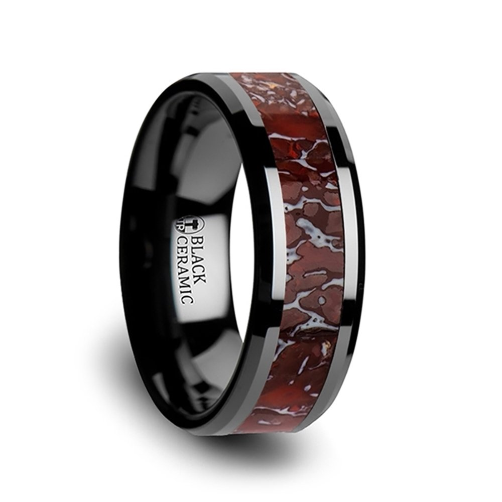 Thorsten Triassic | Tungsten Rings for Men | Tungsten | Comfort Fit | Polished Flat Style Black Ceramic Wedding Ring with Red Dinosaur Bone Inlay and Polished Beveled Edges - 8mm by Thorsten