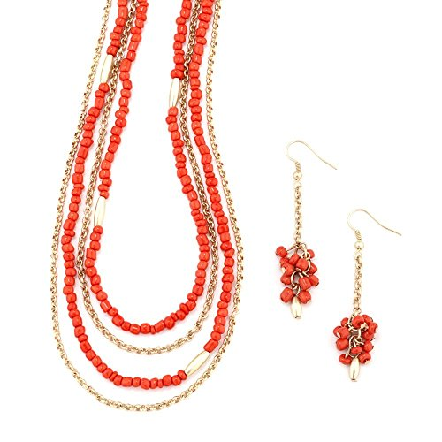 Beaded Coral Jewelry Set - Women's Jewelry Long Bead Coral Necklace and Earring Set