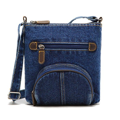 Shoulder Vintage Denim Bag Zeagoo Women Crossbody Purse Jean Blue Handbag Unisex Blue UqFw8xwI6