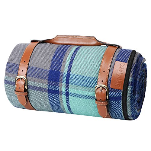 XL Picnic Blanket Dual Layers for Outdoor Waterproof Handy Portable Mat Tote Spring Summer for Beach, Camping on Grass Water Resistant (84x 66)
