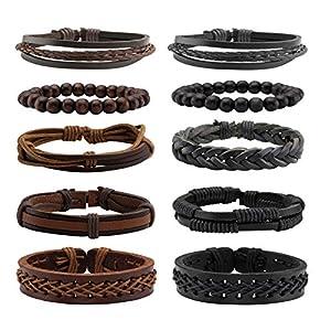 Milakoo 6-10 Pcs Braided Leather Bracelets for Men Women Wooden Beaded Bracelet Cuff Adjustable