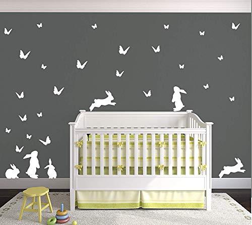- DesignDivil Bunny and Butterflies Vinyl Matte Wall Art Decal Pack.24 Color Options