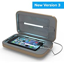 PhoneSoap 3 UV Cell Phone Sanitizer and Dual Universal Cell Phone Charger | Patented and Clinically Proven UV Light Sanitizer | Cleans and Charges All Phones - Gold