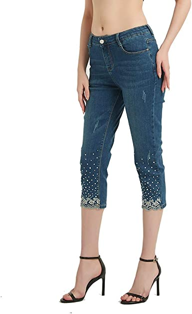 Comfy Women High Waist Embroidered Jean Washed Classic Denim Shorts