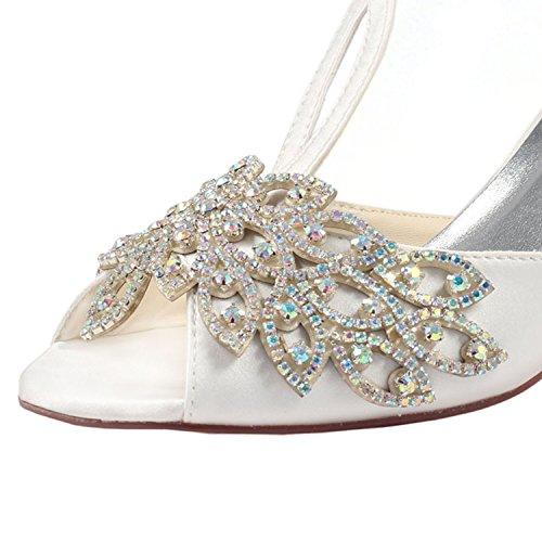 Emily Bridal Chaussures de Mariage en Soie Ivoire Peep Toe Strass T Type Chaussures de Mariée à Talons Hauts Beige SsuWi3PN3