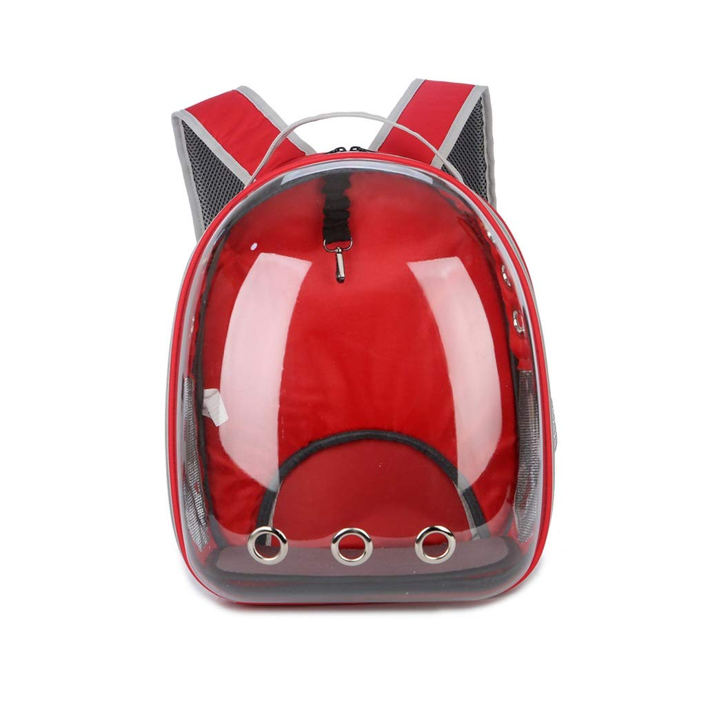 RED JIANXIN Pet Carrier, Portable Backpack, Pet Space Bag,Cat And Dog Backpack,Cat Nest,Transparent And Portable (color   RED)