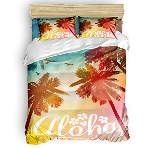 King Size Aloha Art Printing Tropical Coconut Palm Trees Hawaii Summer Beach Party Sunset Skyline Illustration, Decorative 4 Pc Bedding Set with 2 Pillow Shams for Home School Bedding Collection Decor -