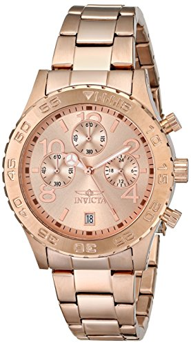 Invicta Men's 1280 II Collection Chronograph Rose Dial 18k Rose Gold Ion-Plated Stainless Steel (Chronograph 18k Rose)