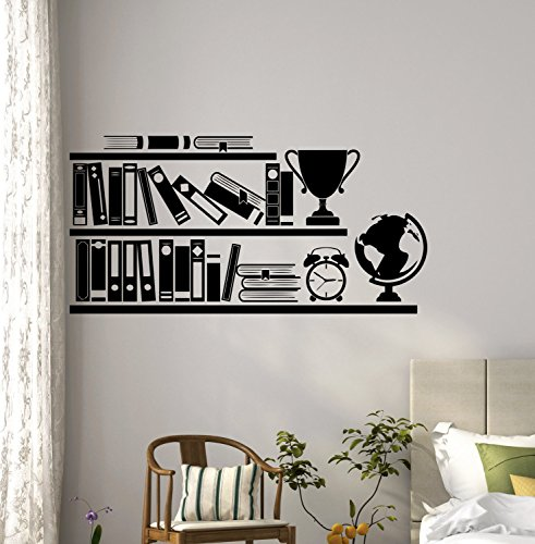 N.SunForest Books Bookshelf Wall Vinyl Decal Reading Library School Sticker Office Home Kids Room Nursery Interior Design Mural Art Decor (Christmas Reflect Time Quotes)
