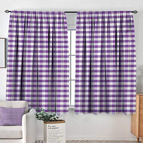 Living Room Curtains Checkered Tablecloth,Purple and White Colored Gingham Checks Rows Picnic Theme Vintage Style Print,Purple White,Darkening and Thermal Insulating Drapes 42