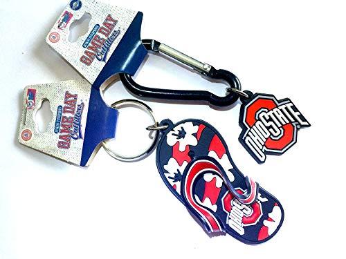 GDO Ohio State Buckeyes Keychain Set - Flip Flop Keychain & Carabiner Logo ()