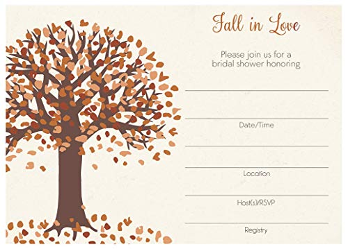 Fall in Love Bridal Shower Invitations Fill in The Blank Invites Autumn Tree Leaves Wedding Shower Gold Bride to Be Wedding Brown Red Golden Fill in The Lines (24 Count)
