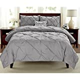 2 Pieces Girls Grey Twin Abstract Pintuck Pinched Pleat Patterned Comforter Set, Silver Shabby Chic Tuffted Teen Bedding Kids Bedroom French Country Vibrant Colorful Elegant, Polyester