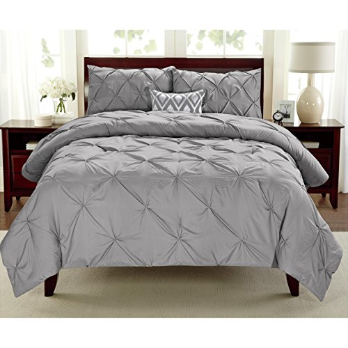 2 Pieces Girls Grey Twin Abstract Pintuck Pinched Pleat Patterned Comforter Set, Silver Shabby Chic Tuffted Teen Bedding Kids Bedroom French Country Vibrant Colorful Elegant, Polyester by Unknown
