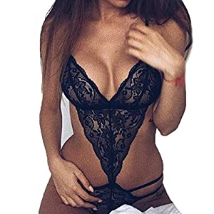 Nacome Women Teddy Lingerie One Piece Babydoll Mini Lace Bodysuit