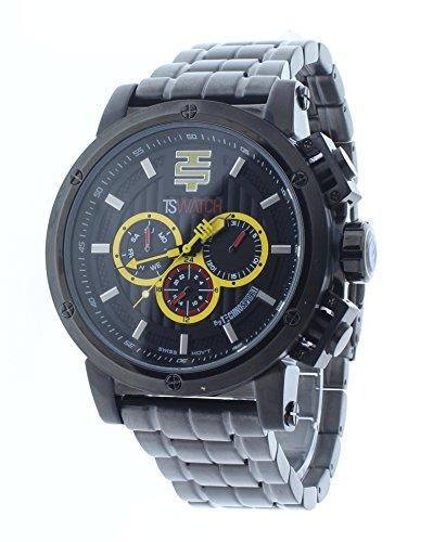 Technosport 50mm Multifunction Black Stainless Steel Mens Watch TS-900-13