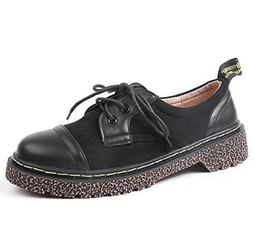Shoes Outdoor Women's Heel Flat Low for Fall Loafers Shoes Black up Lace Rrwz0q61RW