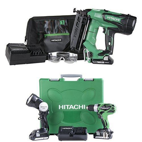Hitachi NT1865DM 18-Volt Cordless 16 Gauge Straight Finish Nailer and DS18DSAL 18-Volt Cordless Driver Drill with Flashlight