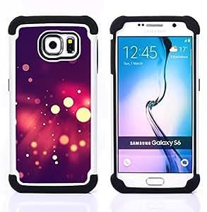 """Samsung Galaxy S6 / SM-G920 - 3 en 1 impreso colorido de Altas Prestaciones PC Funda chaqueta Negro cubierta gel silicona suave (Spots Bokeh púrpura"""")"""