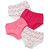 Just Essentials Ladies 4 Pack Cotton Floral Print High Waist Full Briefs - Coral/Pink - Size 12