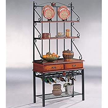 High Quality Coaster Brown/Sandy Black Finish Metal U0026 Wood Bakeru0027s Kitchen Rack W/Drawers