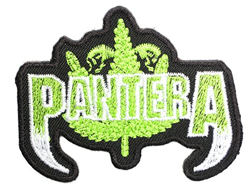 Pantera Green Leaf Logo Metal Iron On Sew On Embroidered PatchApprox: 2.9