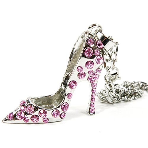 Red Hound Auto Silver Bling High Heel Shoe Mirror Car Charm Hanger Ornament Pink Rhinestones w Chain
