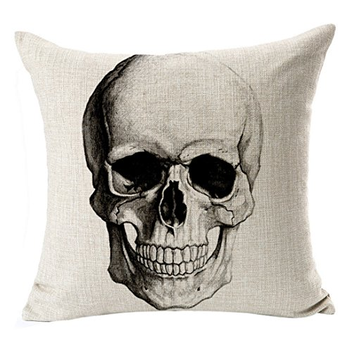 Wensltd Gothic Skull Pillow Case Fashion Pattern Cool Cushion for Sofa Decor Throw Pillow (J)