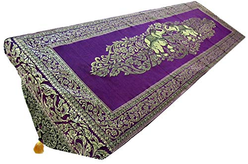 (Blue Orchid Thai Table Runner Elephant with Tassels Embroidered Gold Elegant Bed Scarf Large 19
