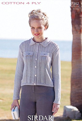 59fa252f9 Source · Sirdar Ladies Jacket Cotton Knitting Pattern 7362 4 Ply Amazon co