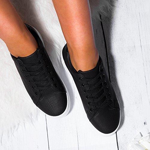 Spylovebuy Crazy Damen Schnür Flache Sneaker Schuhe Schwarz - Synthetik Kunstleder
