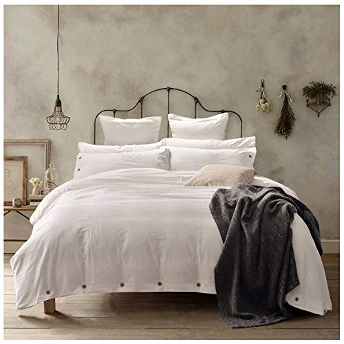 Doffapd Duvet Cover Queen, Washed Cotton Duvet Cover Set - 3 Piece (Queen, Off-White) (Covet Duvet)