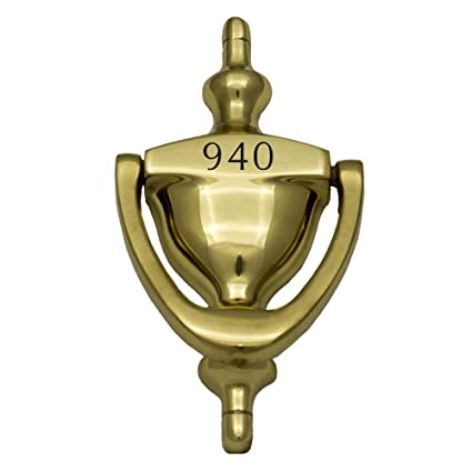 Prestige Plaques Personalized Door Knocker, Deep Engraved, Solid Brass,  6u0026quot; ...
