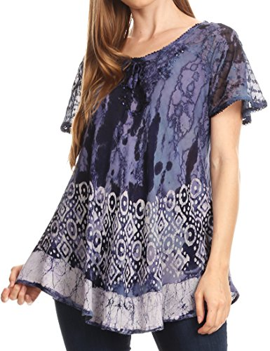 Sakkas 18706 - Sara Womens Flowy Peasant Short Sleeve Top Blouse Tie-dye Batik Embroidery - Navy - OSP