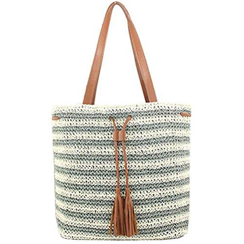 Abuyall Women Colorful Stripe Summer Bag Crocodile Drawstring Zip Tassel Straw Handbag Pt12