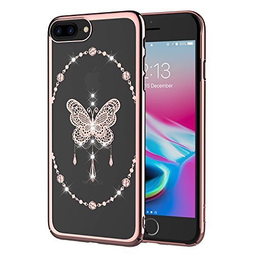 Compatible with iPhone 8 Plus Case and iPhone7 Plus Case, Clear Case with Swarovski Crystals by ICONFLANG, Compatible with Wireless Charging, Slim Case for iPhone 8 Plus. (Pink)