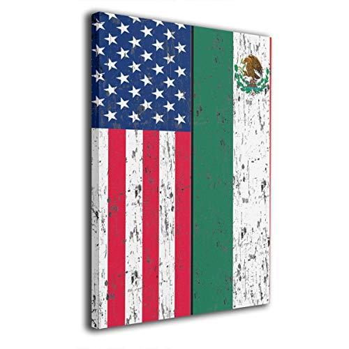 Arnold Glenn Retro Mexican American Flag Mexico -Picture Paintings Canvas Wall Art Prints Contemporary Home Decoration Giclee Artwork-Wood Frame Gallery Wrapped 12