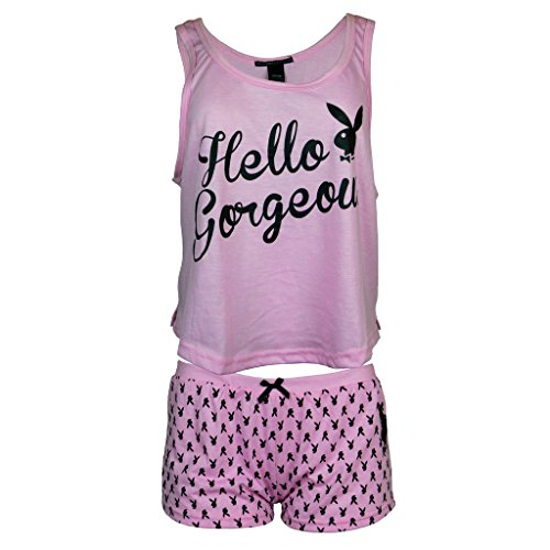 (Playboy Women's Hello Gorgeous Tank with Logo Shorts Pajama Sleepwear Set Light Pink Heather Medium)