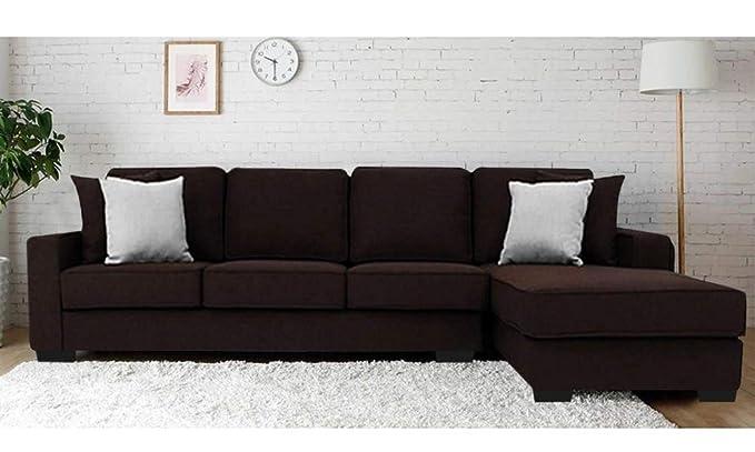 Furny Apollo Five Seater L-Shaped Sofa (Brown)