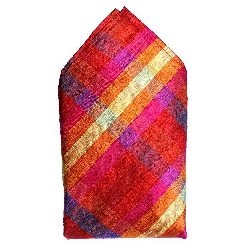 (Red Pink Purple Checks Silk Pocket Square by Royal Silk -16