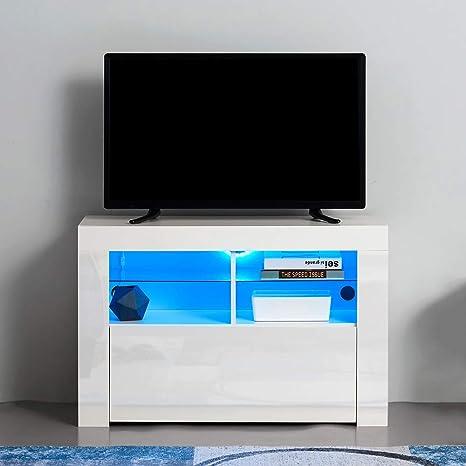 Keinode Meuble Tv Moderne A Led Avec Facade Blanche