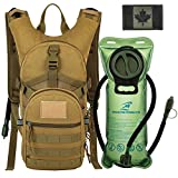 Tactical MOLLE Hydration Pack Backpack 900D with 2L Leak-Proof Water Bladder, Keep Liquids Cool for Up to 4 Hours, Outdoor Daypack for Cycling, Hiking, Running, Climbing, Hunting