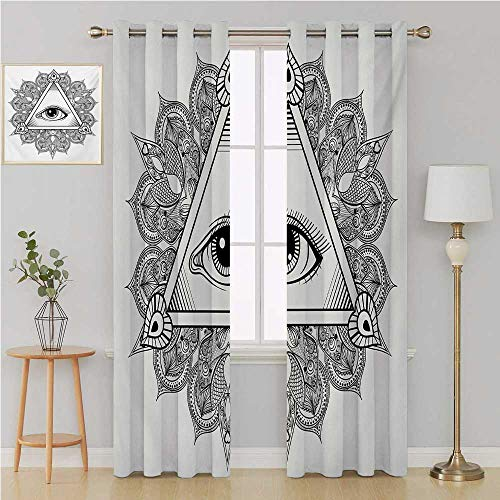 Benmo House Eye Grommet Curtain Room Darkening Curtains for Bedroom,Vintage All Seeing Eye Tattoo Symbol with Boho Mandala Providence Spirit Occultism Light Curtain 84 by 84 Inch Black White