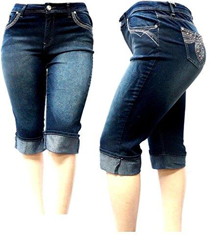 Blue Denim Stretch Capri Jeans (D&B Plus Size Women's Stretch Premium Blue Denim Jeans Capri/Shorts)