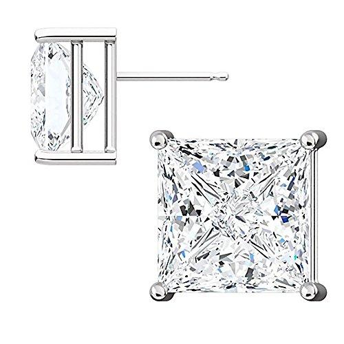 1000 Jewels Sterling Silver 10mm Princess Cut Ice on Fire CZ Stud Earrings