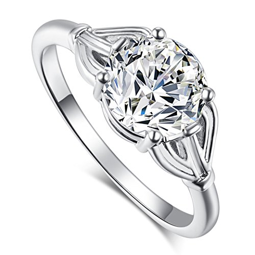 PAKULA Womens Brilliant Simple 8mm Round Cut White Topaz CZ Engagement ()