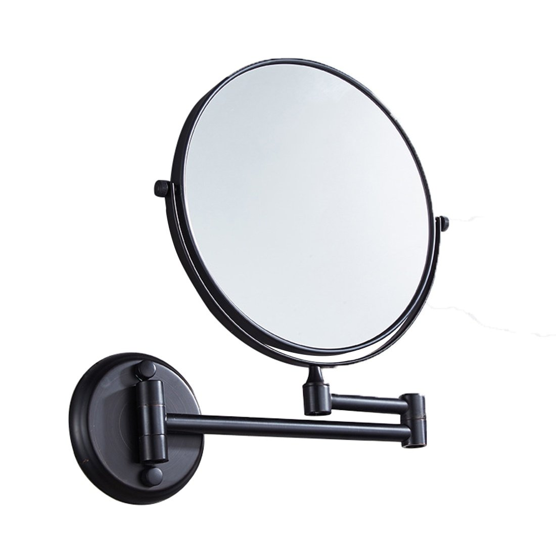 Ysayc Vanity Mirror Double-sided 3x Magnification Wall Mounted Hanging 360° Swivel Bath Spa Hotel Round Bathroom Cosmetic Mirror wall-mounted-mirrors, Black