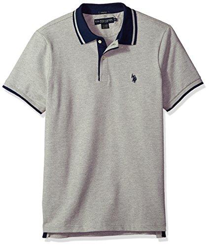 U.S. Polo Assn. Men's Short Sleeve Classic Fit Solid Pique Polo Shirt, Heather Grey KCLK, S